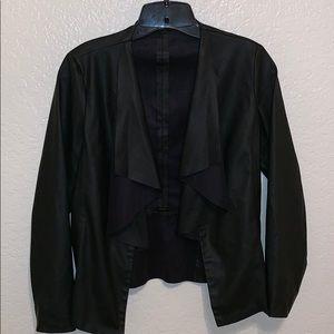 EUC ZARA faux vegan leather drape jacket
